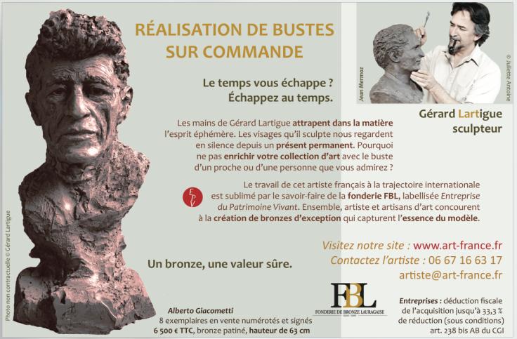 pub-challenge-buste-giacometti-bronze-par-lartigue
