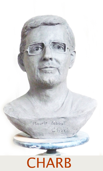 Buste hommage à Charb par Lartigue