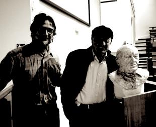 Avec Edgar Morin- buste réalisé par Lartigue 1